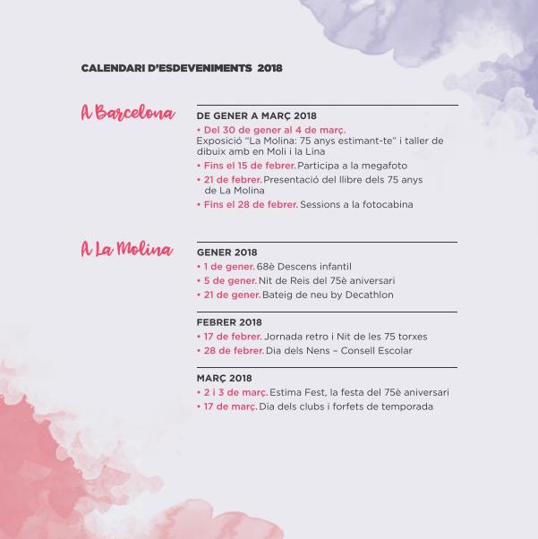 Calendari d'esdeveniments 2018