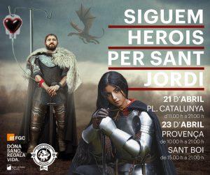 Cartell Siguem herois per Sant Jordi
