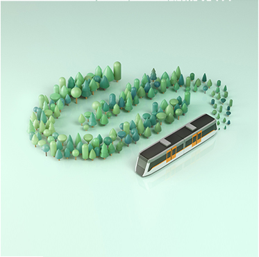 Tren FGC i arbres 3D