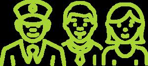 Dibuix vert de 3 persones
