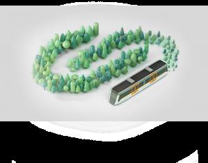 Arbres i tren FGC en 3D