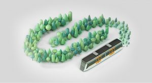 Tren FGC i arbres 3D sostenibilitat
