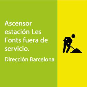 Ascensor Les Fonts fuera de servicio