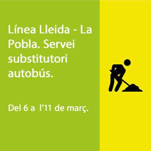 Línea Lleida - la pobla. Servei substitutori autobús